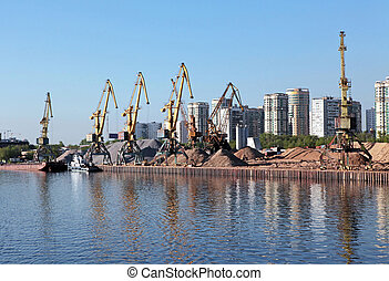 river port of construction sand