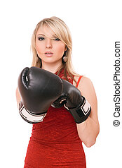 Beautiful blond girl in  boxing gloves