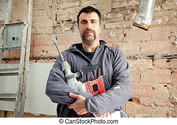 demolition hammer man mason manual worker portrait with...