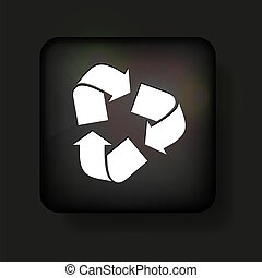 Vector recycle icon on black. Eps10