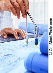 arkitekt, skrivbordsarbete, arbete,  hand