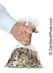 Hand holding a bag of money