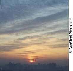 sunrise in beijing - Sunrise in the moring of beijing with a...