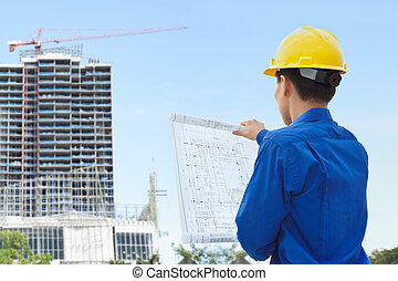 Male contractor and bulding project