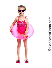 little girl in swimsuits - studio shot of little girl in...