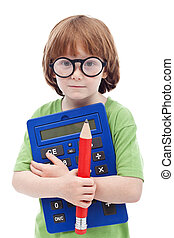 Boy genius concept - child with large glasses, pencil and...