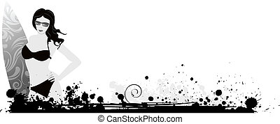 Girl with surf board on grunge background in grayscale...