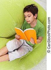 Boy practice reading