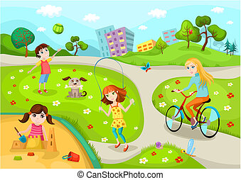 playground - vector illustration of a cute 	playground