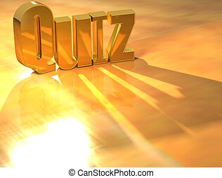 3D Quiz Gold text over yellow background