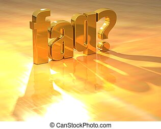 3D Faq Gold text over yellow background