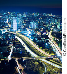 Cityscape at night - Night city, Tel Aviv at night,...