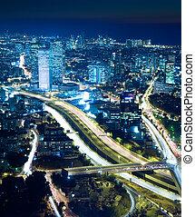Cityscape at night - Night city, Tel Aviv at night,...