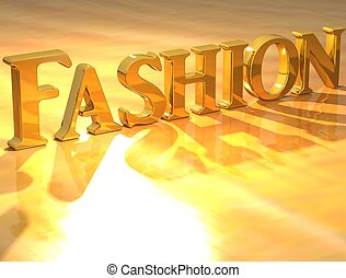 3D Fashion Gold text over yellow background