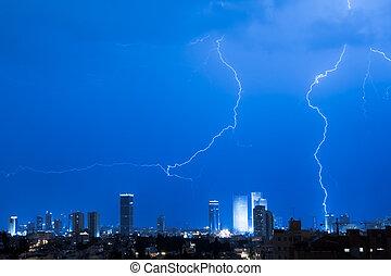 Lightning over a Tel aviv city - Panorama of the Tel Aviv...