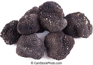 Freshly harvested black truffle - Black truffle with freshly...