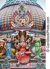 Hindu temple in Singapore - Fragment of decorations of the...