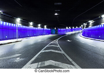 Tunnel - Urban highway road tunnel - Interior of urban...