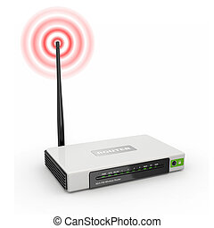 Wireless wifi Router on white isolated background