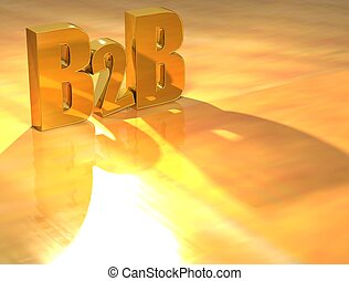 3D B2B Gold text over yellow background
