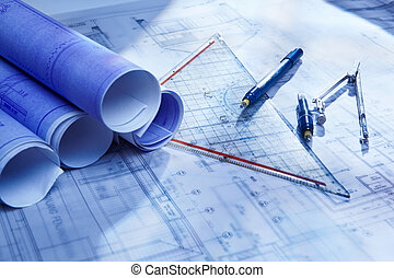 Architecture paperwork - Rolled up architecture blueprint...