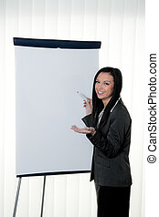 coach before empty flipchart in training and education -...