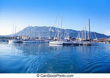azul, Puerto deportivo,  Alicante, Mediterráneo,  denia