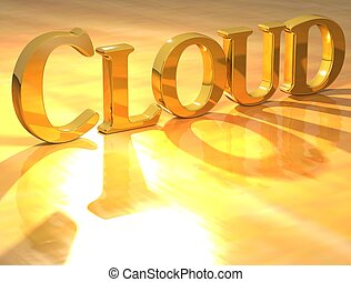 3D Cloud Gold text