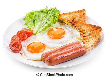 fried eggs with sausages, tomatoes and toasts