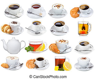set with different cups of coffee and tea on white...