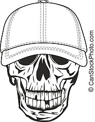 skull in baseball cap - Vector image skull in baseball cap