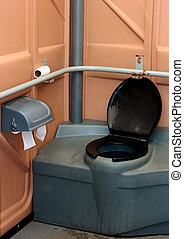 portable toilet - interior view of a unisex portable toilet