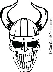 skull in helmet Vikings 2 - The vector image a skull in an...