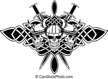skulls in helmets and Celtic patterns - The vector image...