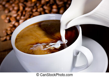 milk pouring into cup