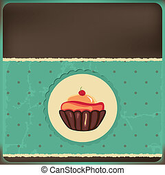 Cute retro cupcake in frame . Polka dots background. Vector...