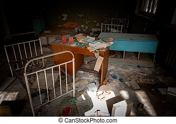 Abandoned nursery with toys at Chernobyl in the dark