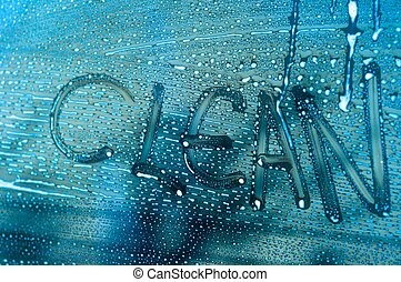 """Word """"Clean"""" on a window - Word """"Clean"""" on a cars window"""
