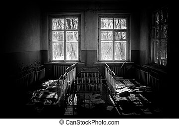 Abandoned nursery at Chernobyl in black and white