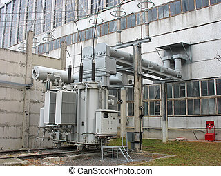 Huge industrial high voltage converter at power plant