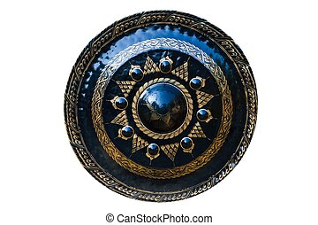 Gong with painting isolated on white background