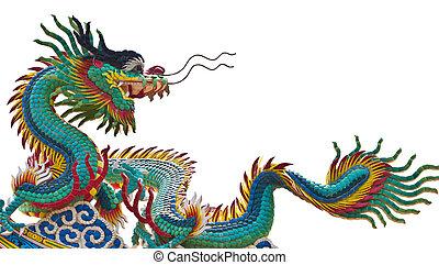 estátua, dragão, sobre, branca, fundo