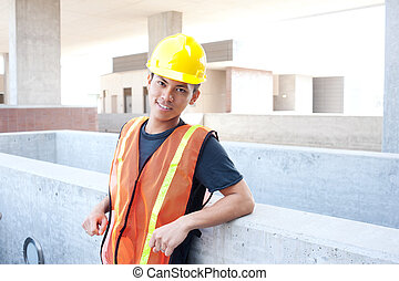 young asian construction worker - portrait of a young asian...