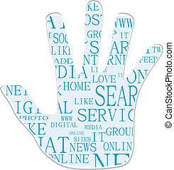 Illustration of the hand symbol, which is composed of text keywords on social media themes