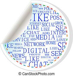 Social media button - label sticker
