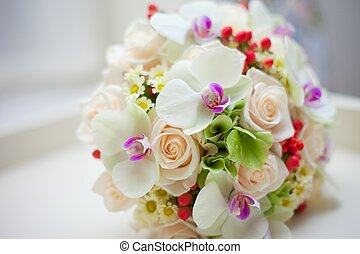 wedding bridal bouquet with white orchids, roses, daisies...