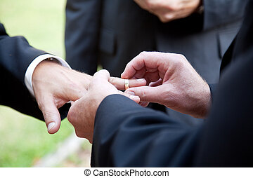 Gay Marriage - With This Ring - One groom placing the ring...