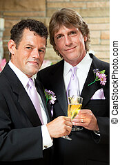 Gay Couple at Wedding Reception - Handsome gay couple give...