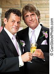 homossexual, par, casório, recepção