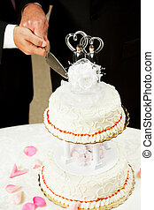 Gay Marriage - Cutting Wedding Cake - Closeup of a wedding...